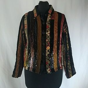 Coldwater Creek Patchwork Velvet Boho Jacket